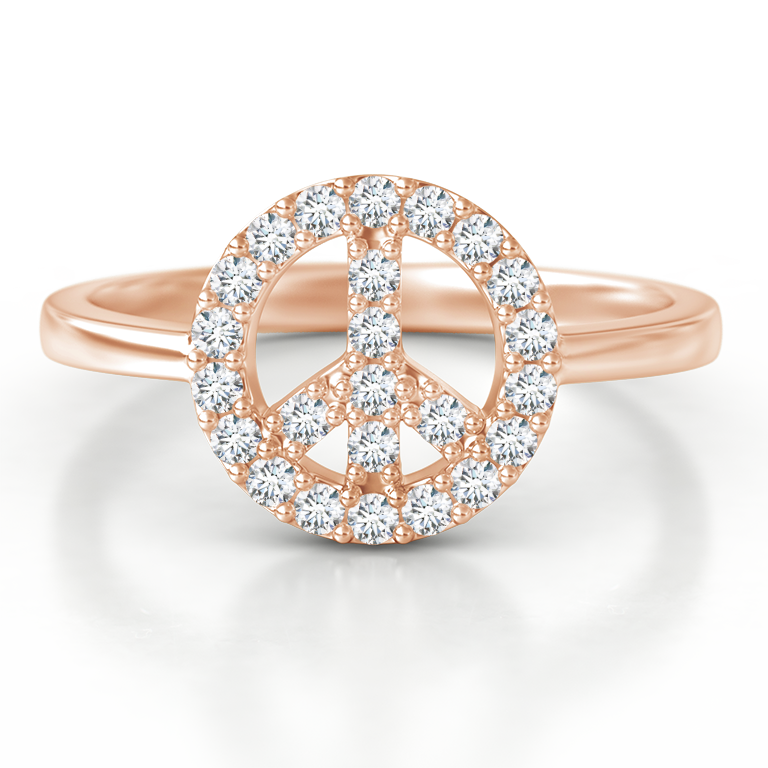 Tapered-Shank Diamond Peace Sign Ring